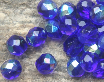 Cobalt blue aurora borealias fire polished faceted 8mm glass beads