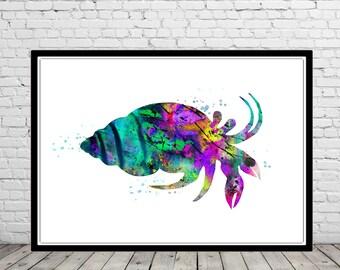 Crab, Ocean art, sea life, kids room decor, nursery art, watercolor crab, crab print, home decor, Crab art, ocean art