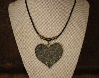 Bronze embossed heart necklace