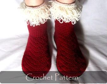 CROCHET PATTERN - Santa's Boots Women House Slippers Crochet Pattern Holiday Home Crochet Slippers Socks - AimarroPatterns PDF - P0036