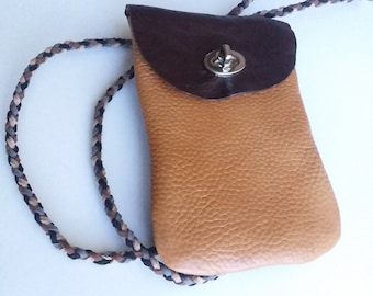 Leather Cross Body Cell Phone Pouch/Boho Cross Body Pouch/Long Strap Pouch/Pouch on a Strap/