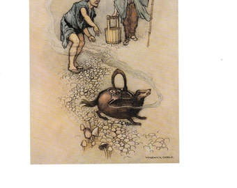 Warwick Goble The Haunted Flute and other Japanese Stories The Magic Teakettle ORIGINAL Book Plate Decorative Wall/Nursery  Hanging 1995