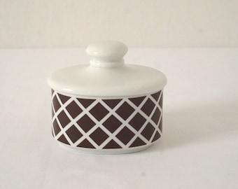 Country Trellis Brown and White Vintage Porcelain Lidded Storage Jar