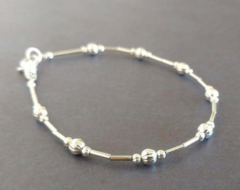 Simple Dainty Liquid Silver Plated Beaded Bracelet Silver on Silver Thin Narrow Small Bracelet