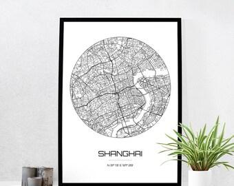 Shanghai Map Print - City Map Art of Shanghai China Poster - Coordinates Wall Art Gift - Travel Map - Office Home Decor