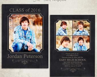 Senior Graduation Announcement Template for Photographers 005 - ID0103, Instant Download
