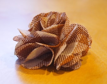 Brown and Cream Fabric Flower Clip