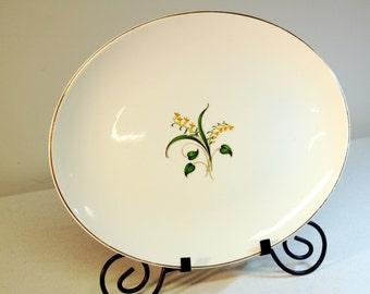 Large-Knowles forsythia platter-mid century vintage serving platter-porcelain with gold rim