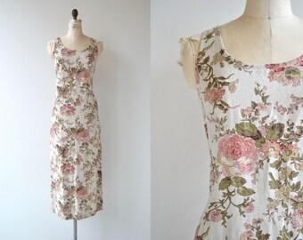 English Garden dress | vintage linen dress | long floral dress