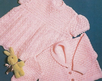 "Baby Knitting Pattern 3 ply Lacy Dress & Jacket 18-20"" pdf"