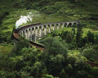 Scotland Photography Print, Glenfinnan Viaduct, Scottish Highlands, valley, cloud, mist, moody, instagram, glen, railway, Harry Potter train