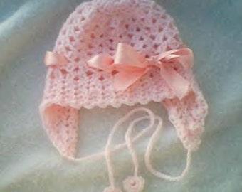 0001 Baby Girl Pattern,Crochet Earflap,Infant hat Pattern,Reborn Hat pattern,Classic Shells Pattern,Crochet baby hat by CarussDesignZ