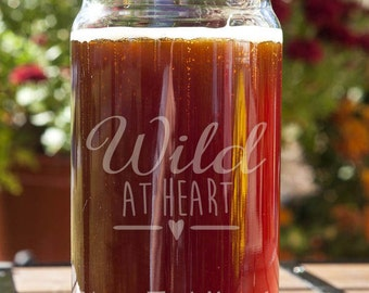 Wild at Heart Customizable Etched Beer Can Glass Glassware Gift