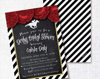 Derby Bridal Shower Invitation, Printable, Run For The Roses, Horse Race, HorseRacing, Wedding Shower, Horse Gala, Wear a Hat Shower