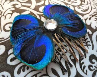 BLAIR paon bleu Bow cheveux peigne