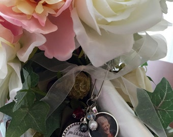 Personalized Photo BRIDAL BOUQUET MEMORIAL charm keepsake remembrance quote saying I know you'd be here to day if heaven wasn't so far away