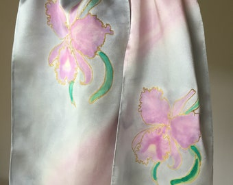 Elegant Hand Crafted Pearl Orchid Scarf, Hand Painted Silk Scarf, Slow Fashion, Made by-hand, Made in USA, Spring Fashion, Pearl Orchid