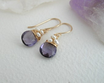 Cape Amethyst Quartz and Pearl Drop Earrings - Amethyst Earrings - Amethyst Jewelry- February Birthstone- Sterling Silver or 14K Gold Filled