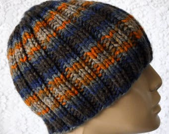 Beanie hat, skull cap, navy blue gray taupe orange rust brown, striped hat, mens womens knit hat, toque, winter hat, ribbed beanie hat