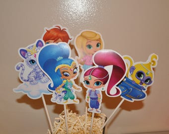 Shimmer and Shine Large Centerpiece toppers sets of 6