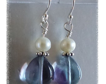 Genuine Fluorite and Freshwater Pearls on Sterling Silver Earrings -- Pretty for a gift or for you!