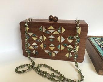 Handbag, Women accessories, Wooden Handbag, Gift for her, Shoulder handbag, Evening handbag, Syrian Mosaic