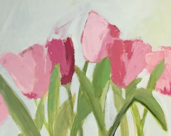 tulip painting pink tulips large floral art pink and green art pamela munger 30x30