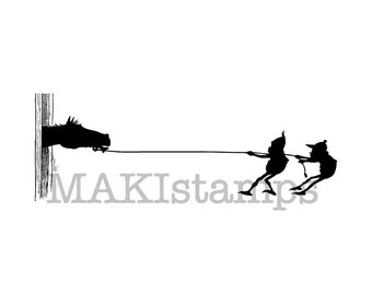 Horse rubber stamp from the Brownie Wild West collection / Large rubber stamp / rubber only or cling stamp option (150109)