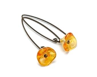 Niobium Earrings Orange Flowers, Sunshine Honey Colored Czech Glass Flowers on Hypoallergenic Niobium Bronze Colored Arched Earwires