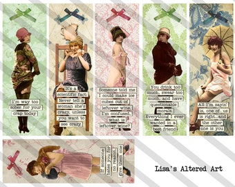 Bookmarks, Digital Collage Sheet, 2X6 inch,  Sarcastic Ladies,  (Sheet no. FS311) Instant Download