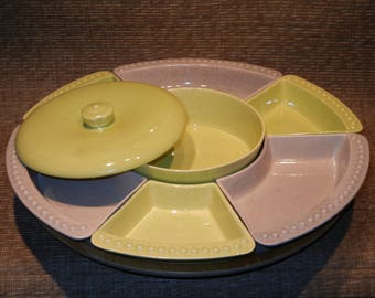 1960's William Frazier Pottery 7 compartment snack server with lazy susan