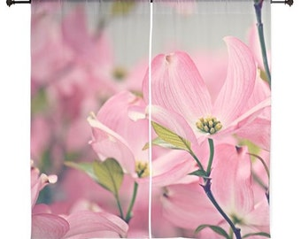 Sheer Curtains - Home Decor, Pink Dogwood Flowers, Bloom, Blossoms, Spring, nature photography by RDelean Designs