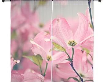 Gardinen - Home Decor, Rosa Hartriegel Blumen, Blüte, Blüten, Frühling, Naturfotografie von RDelean Designs