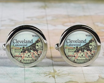 Cleveland cuff links, Cleveland map cufflinks wedding gift anniversary gift for groom groomsmen gift for best man Father's Day gift