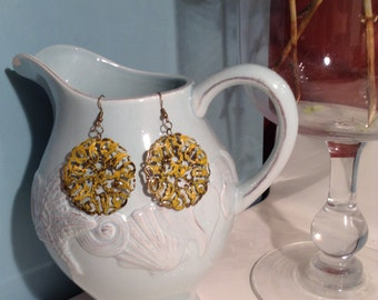 Distressed Mustard Yellow Filigree Earrings