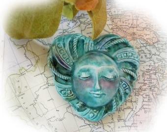 OOAK Statement bead -one of kind bead -Large green heart bead -Focal Face Bead,  Handmade Ceramic bead, OOAK pottery bead   # 85