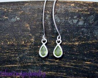 Peridot Crystal  Dangle Earrings, Peridot Dangle Earrings, August Birthstone Earrings