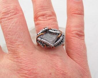 Roher Kunzit Ring rohen Kristall Ring Draht umwickelt, Ring roh Kristalle und Steine