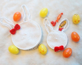 Easter Bunny Bag Easter Treat Bags Easter Basket Stuffers Crochet Bag Girl Easter Bow Red Bow Tie White Bunny Party Favor Bags Pom Pom