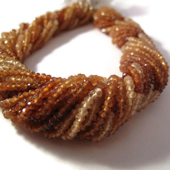 Natural Hessonite Garnet Beads, Faceted Rondelles, Necklace Beads, 6.5 Inch Strand, 3mm - 3.5mm, Gemstone Beads, Jewelry Supplies (R-Hes1)