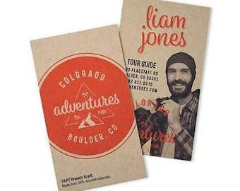 """250 Business Cards or tags 3.5""""X2"""" - printed on 18 PT THICK Kraft board/paper stock - with white ink option - recycled eco-friendly"""