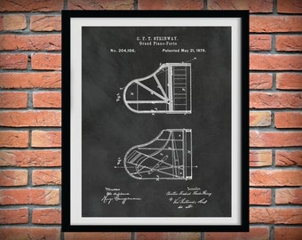 Patent 1878 Steinway Grand Piano Forte - Music Art Print - Musical Instrument - School Music Room Wall Art - Orchestra Wall Art