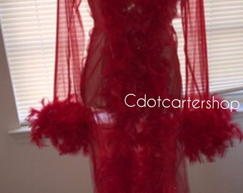Sheer red feather fur lingerie robe