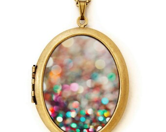 Photo Locket - Partay - Colorful Confetti Abstract Pretty Photo Locket Necklace