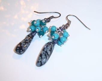 Earrings, cluster, Obsidian speckled, turquoise