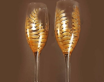 Gold Fern Champagne Flutes - Crystal Toasting Flutes Hand-Painted Wedding Toast Glass Rustic Wedding Flute Modern Rustic Gift Theme