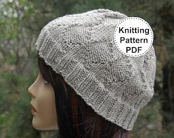 KNIT HAT PATTERN Instant Pdf Download | Beanie | Beanie Hat Pattern | Knitting Pattern | Knitted hat pattern