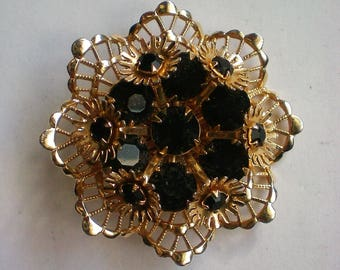 Gold and Black Layered Brooch - 5817