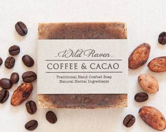 Coffee + Cacao Soap // Handmade with All Natural Herbal Ingredients // Traditional Cold Process Soap // Vegan & Palm Oil Free // Unscented