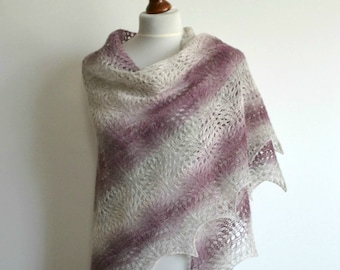 Hand knitted lace shawl heather gray pink cream wool wrap triangular handmade